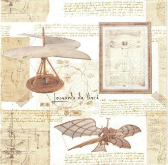4 Serviettes en papier Inventeur Leonard De Vinci Format Lunch