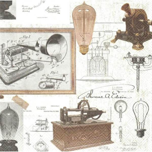 4 Serviettes en papier Inventeur Thomas A. Edison Format Lunch - Photo n°1