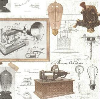 4 Serviettes en papier Inventeur Thomas A. Edison Format Lunch