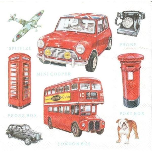 4 Serviettes en papier Icônes Londres Format Lunch - Photo n°1