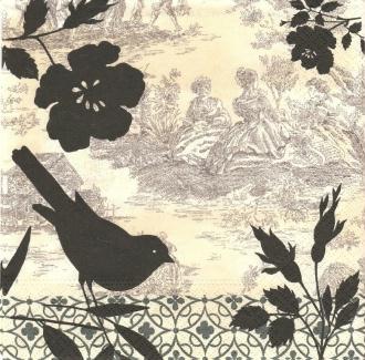 4 Serviettes en papier Gravure sur bois Oiseau Toile de Jouy Format Lunch