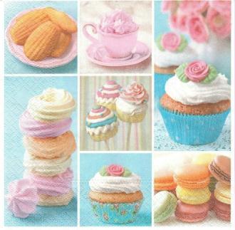 4 Serviettes en papier Sucrerie Macarrons Cupcakes Format Lunch
