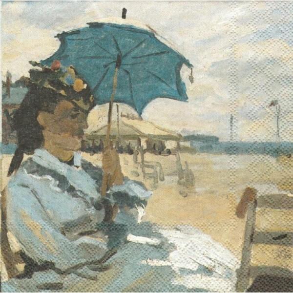 4 Serviettes en papier Monet Sur la plage à Trouville Format Lunch - Photo n°1