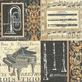 4 Serviettes en papier Musique Piano Instruments Baroque Format Lunch