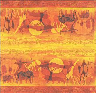 4 Serviettes en papier Silhouettes africaines Format Lunch