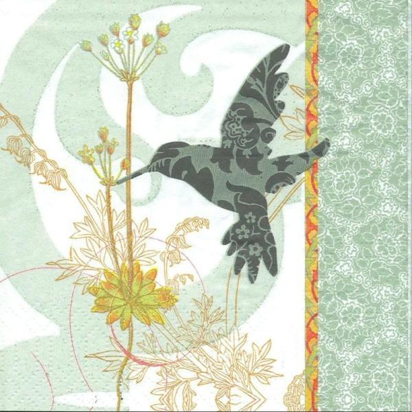 4 Serviettes en papier Oiseau Colibri Format Cocktail - Photo n°1