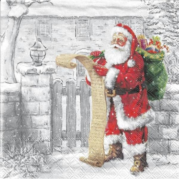 4 Serviettes en papier Liste Père Noël Format Lunch - Photo n°2