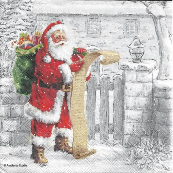 4 Serviettes en papier Liste Père Noël Format Lunch - Photo n°1
