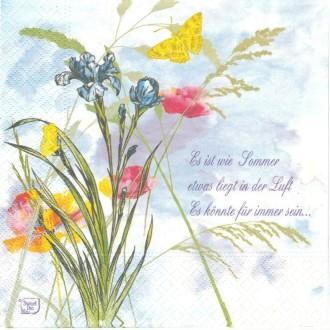 4 Serviettes en papier Fleur d'été iris Coquelicot Format Lunch