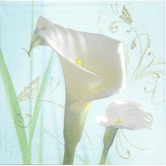 4 Serviettes en papier Arum Fleurs Format Lunch