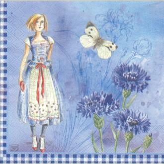 4 Serviettes en papier Bleuet Fée Papillon Format Lunch