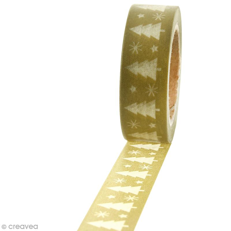 Masking tape Sapin de Noël blanc sur fond kaki clair - 1,5 cm x 10 m - Photo n°1