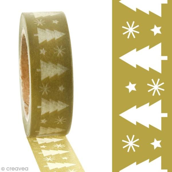 Masking tape Sapin de Noël blanc sur fond kaki clair - 1,5 cm x 10 m - Photo n°2
