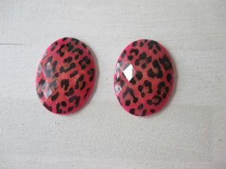 Lot de 2 cabochons ovale résine motif léopard