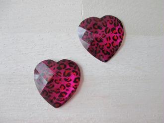 Lot de 2 cabochons cœurs résine motif léopard