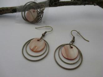 Kit de boucles d'oreilles anneaux bronze et sequin chair