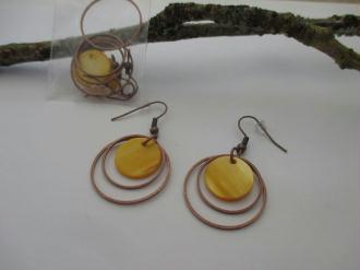 Kit de boucles d'oreilles anneaux cuivre et sequin orange