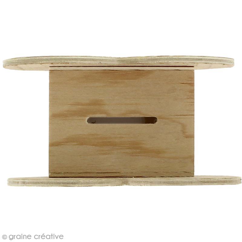 Tirelire Coeur en bois à décorer - 11 x 10 x 6 cm - Photo n°2