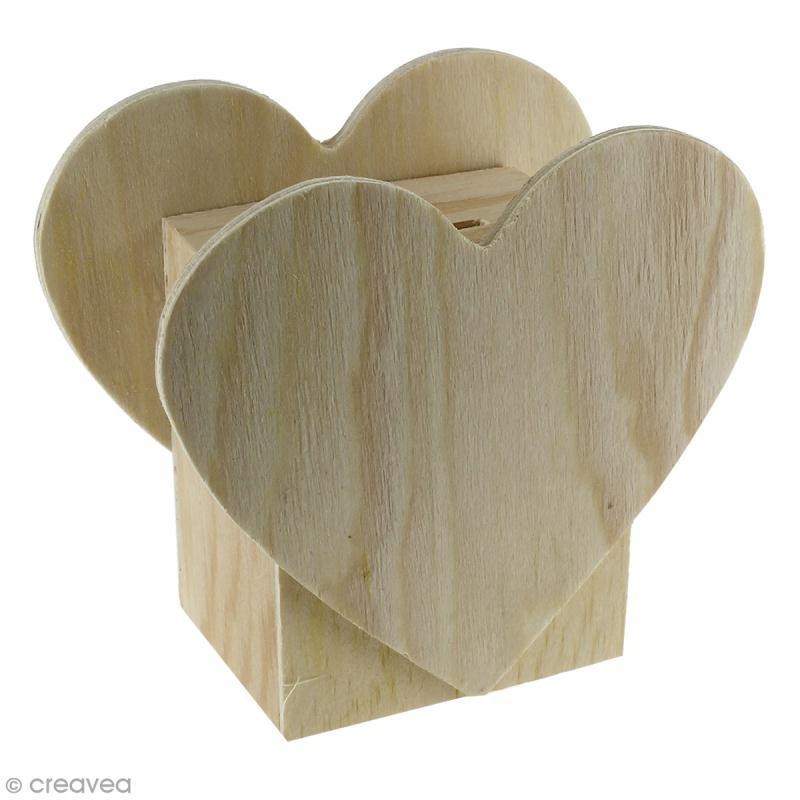 Tirelire Coeur en bois à décorer - 11 x 10 x 6 cm - Photo n°1