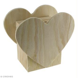Tirelire Coeur en bois à décorer - 11 x 10 x 6 cm