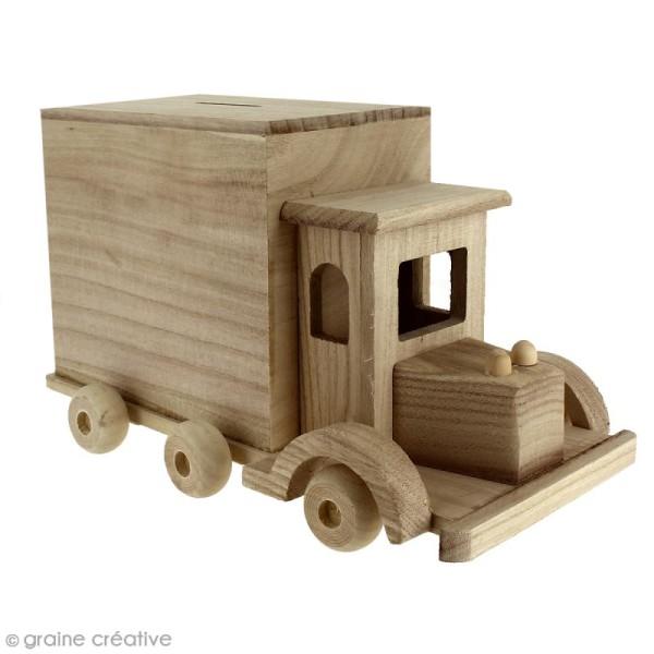 Tirelire Camion en bois à décorer - 25 x 15 x 14 cm - Photo n°1
