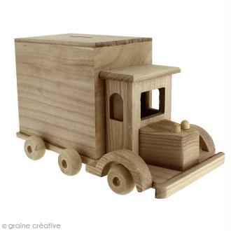 Tirelire Camion en bois à décorer - 25 x 15 x 14 cm