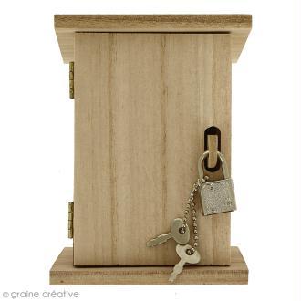 Tirelire Boîte à cadenas en bois à décorer - 10 x 13,5 x 10 cm