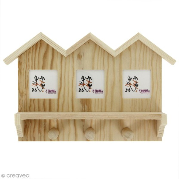 support mural porte clefs en bois d corer 23 2 x 15 2. Black Bedroom Furniture Sets. Home Design Ideas