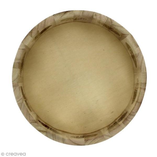 Corbeille ronde en bois à décorer - Motifs coeur - 21 x 21 x 10 cm - Photo n°2