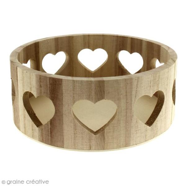 Corbeille ronde en bois à décorer - Motifs coeur - 21 x 21 x 10 cm - Photo n°1