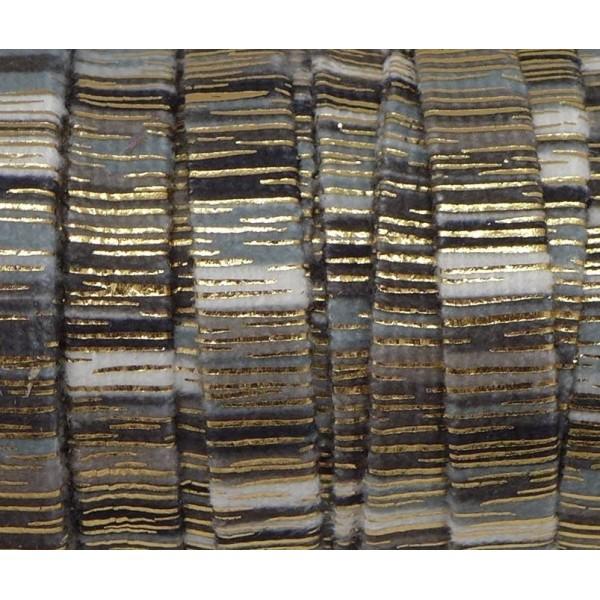 75cm Lanière Velours 10mm Rayé Noir, Gris, Blanc Et Doré Style Bollywood - Photo n°2