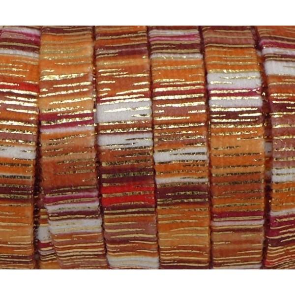 75cm Lanière En Velours 10mm Rayé Orange, Rouille Et Doré Style Bollywood - Photo n°2