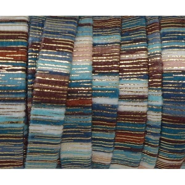 75cm Lanière Velours 10mm Rayé Bleu, Blanc, Marron Et Doré Style Bollywood - Photo n°2