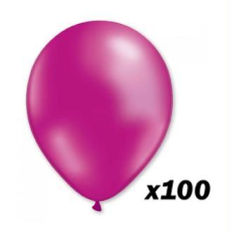 100 Ballons Rose Fuchsia 30 cm