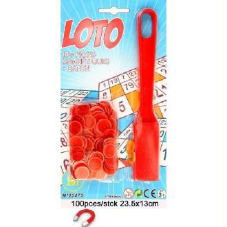 100 Pions + Racloir Magnétique Loto (Couleurs Assorties)