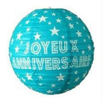 2 Lampions Papier Bleu Turquoise 23 cm Joyeux Anniversaire