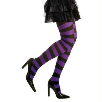 Collants Halloween Rayés Violet et Noir (M/L)