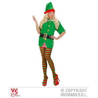 Collants d'Elfe/Clown Rayés Rouge et Vert (XL)