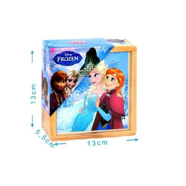 Boîte 9 cubes bois reine des neiges - 6 dessins 13 x 13 cm - Photo n°1
