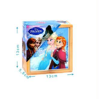 Boîte 9 cubes bois reine des neiges - 6 dessins 13 x 13 cm