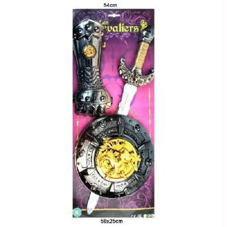 Epée médiéval 54 cm + bouclier + gant