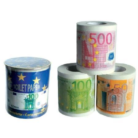 Rouleaux de papier toilette billets euros dans bo te pvc 3 - Acheter papier toilette en gros ...