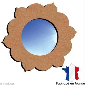 Miroir rond fleur orientale en bois 38 cm
