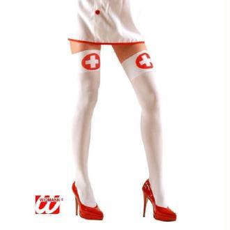 Bas blanc d'infirmière + croix rouge - Taille M/L