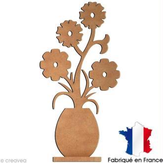 Pot de fleurs déco marguerites en bois 30 cm avec socle