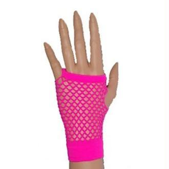 Paire de gants fluo résilles roses