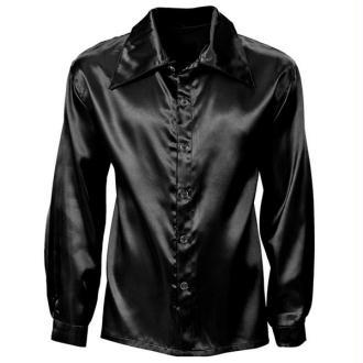 Chemise noire satinée style homme (M)