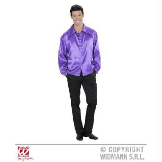 Chemise violette homme satinée-L