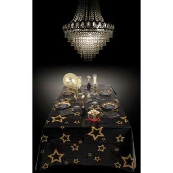 Nappe VIP noire motifs étoiles dorées - Photo n°1