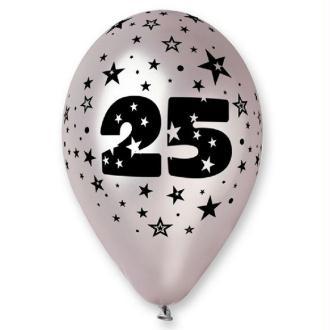 10 Ballons argent étoilés chiffre 25 - 30 cm